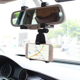 Wholesale Cell Phone Auto Mount - Wholesale-Auto Car Rearview Mirror Mount Stand Holder Cradle For All Cell Phone GPS