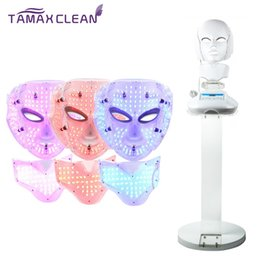 Wholesale Medical Treatment Equipment - 3 Color LED light Photon Infrared Therapy mask Microcurrent Machine with foothold For Skin Rejuvenation beauty equipment salon use LM002P