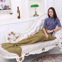Wholesale Korean Fish Bag - Newest Colorful Mermaid Tail Blankets Keeps warm Tail Fish Blankets Women Sleeping Bag Bedding Warm Soft Handmade Knitted Blanket