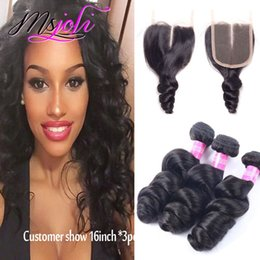 Wholesale Three Bundles Hair - Brazilian virgin human hair weave unprocessed body wave loose silky straight natural color 4x4 lace closure with three bundles from Ms Joli