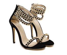 Wholesale T Strap Pumps Shoes Sexy - Women Sandals 2017 Summer New Fashion Chain Decoration Suede Peep Toe High Heel Sandals Women Sexy Fashion Pumps Shoes