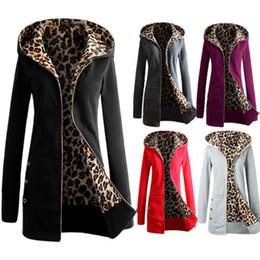 Wholesale Leopard Hats Women - Wholesale- Women's Sexy Pockets Leopard Coats Solid V-Neck Full-Sleeve Hat Zipper Hoodies