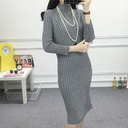 Wholesale Slim Fit Maxi Dresses - Wholesale-Korean Stylenanda Black White Turtleneck Sweater Dress Slim Fit Knitted Pullover Long Sweater Autumn Winter Casual Maxi Coats