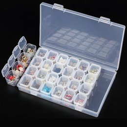 Wholesale clear plastic jewelry boxes cases - Clear Plastic 28 Slots Empty Storage Box Nail Art Rhinestone Tools Jewelry Beads Display Storage Box Case Organizer Holder