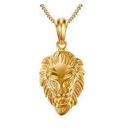 Wholesale Vintage Lion Necklace Jewelry - Hip Hop Big Lion Head Pendant & Necklace Animal King Vintage Gold Silver Color Hiphop Chain For Men Women Jewelry Gifts Accessories 2017 new