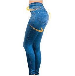 Wholesale Fleece Lined Jeans - Wholesale- Plue Size S-XXL Women Fleece Lined Winter Jegging Jeans Genie Slim Fashion Jeggings Leggings 2 Real Pockets Woman Fitness Pants