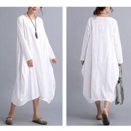 Wholesale Long Sleeve Womens Maxi Dresses - 2017 New Womens Casual Long Sleeve Loose Cotton Linen Maxi Long Dress Kaftan 2 Colors 4 Size