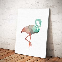 Wholesale Painting Small Rooms - Posters And Prints Wall Art Canvas Painting with frame Wall Pictures For Living Room Nordic Decoration Watercolor Flamingo
