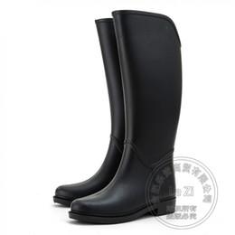 Wholesale Waterproof Long Boots - Windproof Waterproof Long Gum Rain Knight Cowboy Water Boots For Women Horse Riding Wellies 2016 Knee High Matte Safety Rubber