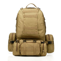 Wholesale Tactical Rucksacks - New 50L Molle Tactical Assault Outdoor Military Rucksacks Backpack Camping Bag Large 11Color Free Shipping Wholesale