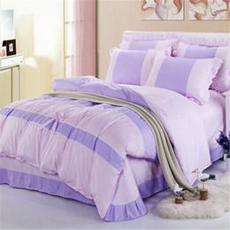 Wholesale Lace Cotton Twin Sheets - Wholesale- New Cute Lace Bow Bedding Set Fashion Bed Linen Sheet   Duvet Cover   Pillowcase Cotton 4 Pcs   Bed Set King Queen Twin Size