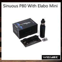 Wholesale Hid Blue - Wismec Sinuous P80 With Elabo Mini Kit 80W SINUOUS P80 TC Box Mod 2ml Elamo Mini Atomizer Hidden Fire Button 100% Original