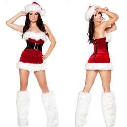 Wholesale Bras Skirts Set - 2016 New Christmas Bra Ties Waist Sexy Package Hip Skirt Matching Hats Sets Of Stage Performance Clothing