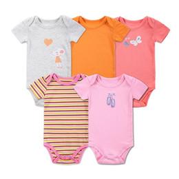 Wholesale Cartoon Body Suit - 5 Pcs lot Retail Baby Girl Clothes Cartoon Baby Bodysuit Girl Boy 0-12M Infant Short Sleeve Creeper Baby Boy Girl Body Suit