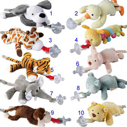 Wholesale Newborn Babies Product - 10 Style New silicone animal pacifier with plush toy baby giraffe elephant nipple kids newborn toddler kids Products include pacifiers