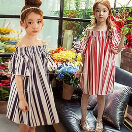 Wholesale Navy Blue Girls Tutu Dresses - Fashion New Girl's Dresses Girls Off Shoulder Vertical Striped Short Sleeve Pearl Kids big Girl Casual Party Dress Red Navy Blue A7021