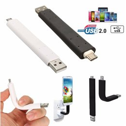 Wholesale Iphone5 Usb Charging Cable - 10CM Flexible USB Data Sync Charge Bendable Cable For Samsung Apple iPhone5 6 6S Plus Stand Holder 2 in 1