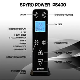 Wholesale New Top Machine Gun - Wholesale-Professional Newest Top Grade New Arrival Tattoo Spyro Power Supply PS400 For Tattoo Coil Machine Motor Gun Supply Free Shipping
