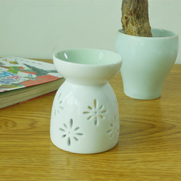Wholesale Oil Candle Holders - Fragrance Lamp Holder Ceramic Hollow Artwork Censer Light Aromatherapy Oil Incense Burner Candle Furnace Home Decor 4wn F R