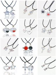 Wholesale Lock Key Couples Jewelry - Valentine 's Day gift key lock couple necklace accessories student couple jewelry YP037 Arts and Crafts pendant with chain 1 set=2 pieces