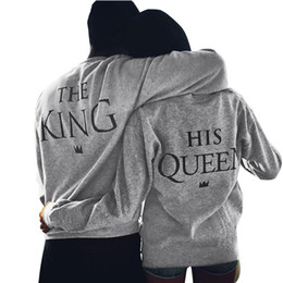 Wholesale Lover Clothes Couples - Wholesale-Men Grey KING 10 Letter Print Hoodies LOVERS CLOTHES New Loose Jumpers Autumn Sweatshirts Fashion Couples Pullovers Aug20
