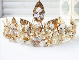 "Wholesale Dresses Bride Stones - ""n 2017 the new DG luxury Baroque Baroque crown bride crown gold leaf Handmade Beaded headdress ornaments wedding dress accessories wholesal"