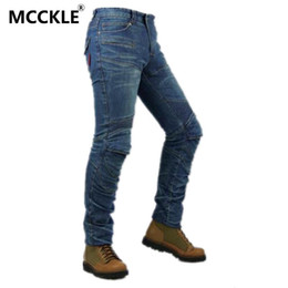 Wholesale Quality Moto - Wholesale-High quality Men Motorcyle Jeans Pants Pleated Denim Biker Jeans Men Moto Jeans with Knee Pad Trousers Q1375