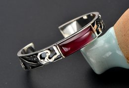 Wholesale Silver Chain Bracelete - 2017 DHL free Latest American Element Top Grade Bangle for lady with precious Ruby inlaided Geogrous jewelry bracelete purely silver