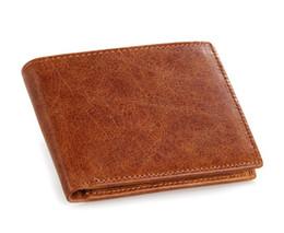 Wholesale Clutch Men Korean - New Top Quality Men's Purse Genuine Leather Short Vintage Wallet Men's Pocket Coin Purse Brown Purse Credit Card Holder Mix Order