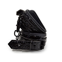 Wholesale Bondage Leather Cuff - APHRODISIA PU Leather Furry Comfortable Footcuffs Restraints Bondage Tools Flirting Tool For Beginners Sex Toys For Couple