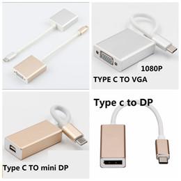 Wholesale usb vga dvi - USB 3.1 Type C To Display Port DP MINI DP VGA 1080p HDMI DVI HDTV Adapter Cable for Macbook Chromnook 1PCS LOT