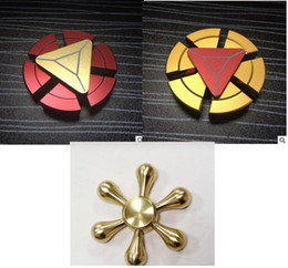 Wholesale Toy Horns - Six horns three heads six-arm pure copper figure Fidget Spinner Captain America Fidget Spinner