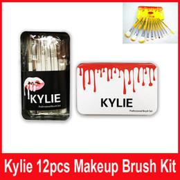 Wholesale Metal Bushes - Kylie makeup bush 12pcs set Kylie brush foundation blush powder makeup tools metal box top quality