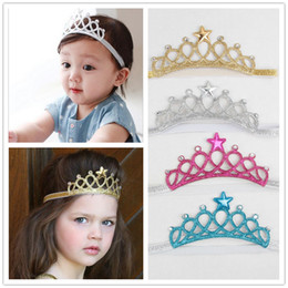 Wholesale Hair Tiara Crown - Baby Girls Headbands Sparkle Crowns Kids Grace crown Hair Accessories Tiaras Headbands With Star Rhinestone Hair Accessories 4 Colors KHA91