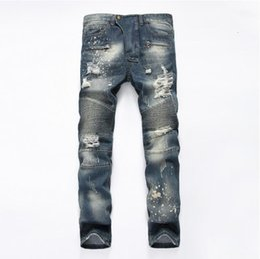 Wholesale Jeans Pant Folding - New-style men's jeans straight tube repair bike fold men's pants