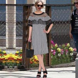 Wholesale Womens Sheer Briefs - [Aiweier] Womens Summer Dresses Plus Size 2017 Black Striped Hollow Out Dress Short Sleeve O-Neck Fashion Women Vestidos W2386