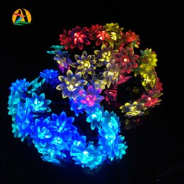 Wholesale Luces Led Navidad - Wholesale- 4.8M Fairy Lotus Flowers LED Garland String Light for New Year Wedding Holiday Party Luminaria Navidad Luces Decoration Lamp