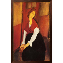 quadri di arte astratta rossa Sconti abstract Portrait paintings by Amedeo Modigliani Jeanne Hebuterne in Red Scialle per bambine artistiche per arredamento camera da letto di alta qualità