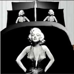 Wholesale Wholesale Duvet Covers - 3D Marilyn Monroe Duvet Cover Set 3D Reactive Print Bedding Set 4pcs Bed Spread Set Full Size Home textiles New