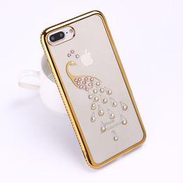 Wholesale Peacock Rhinestone Iphone Case - Cute Rhinestone Glitter Sparkle Luxury 3D Diamonds Swan Peacock Gold Rose Pink Phone Case For iPhone 7 7Plus 6 6S 6Plus 5 5S