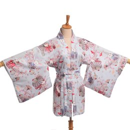Wholesale Japanese Yukata Costumes - Wholesale- Kawaii Japanese Yukata Kimono Cute Women Onegai Usagi Praying Rabbit Matsuri Blossom Bunny Coat Jacket Summer Costume
