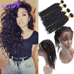Wholesale Deep Wave Frontal Lace Closure - Pre Plucked 360 Lace Frontal With Bundles Malaysian Deep Wave Bundles 3 Bundles With Frontal Closure