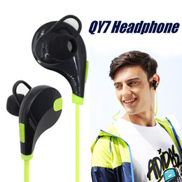 Wholesale Orange Headphones - Bluetooth Headphones Neckband Noise Cancelling Stereo Headset Sport In Ear QY7 Bluetooth 4.1 Stereo Earbuds Microphone Running Headphones