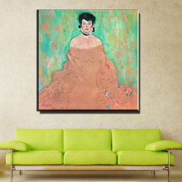 Wholesale Woman Portrait Oil Canvas - ZZ747 modern canvas portrait art beautiful woman canvas oil painting of Gustav Klimt beautiful art for living room decoration