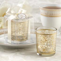 Wholesale Tea Candle Favors - Free Shipping 50PCS Party Supplies Golden Renaissance Glass Tea Light Holder Candle Holder Glass Cup Wedding Favors Party Table Decors