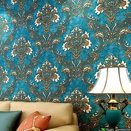 Wholesale Damask Backgrounds - Wholesale-Vintage Luxury Damask Textured Embossed Flocking Roll Wallpaper European 3D blue Damask Wall Paper Home Decor For Background