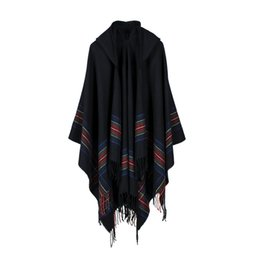Wholesale capes ponchos for women - New Women Fashion Hooded Cape Shawl The Oversize Shawls Capes Women Autumn Warm Stole Coat For Female RO16058