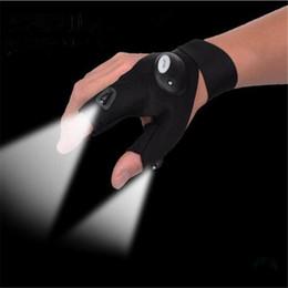 Fischfanghandschuhe online-Heiße rutschfeste Fischen-Handschuhe des Verkaufs-LED mit LED-weißer Taschenlampe-im Freiensportlicher Nacht geben Verschiffen frei