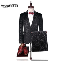 Wholesale Paisley Blazer - Wholesale- (Blazer+Pants) Groom Wedding Suit Mens Print Paisley Floral Stage Wear For Singer Fashion Slim Fit Mens Suits With Pants M-4XL