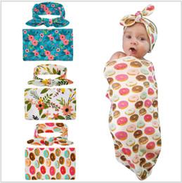 Wholesale Tutu Head - Newborn Baby Swaddle Blankets Headband Set With Bunny Ear Headbands Swaddle Wrap Cloth Floral Pattern Head bands Cute Bunny